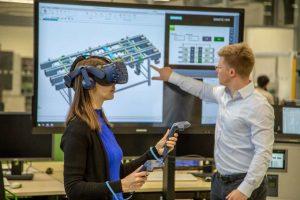Abbildung 5: Einsatz von VR-Technologien bei der Planung von Sondermaschinen am Lehrstuhl FAPS