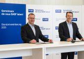 Sinischa Horvat, Vorsitzender des Betriebsrats der BASF SE; Michael Heinz, Mitglied des Vorstands der BASF SE und Standortleiter Ludwigshafen (Bildquelle: BASF)