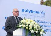 Magnus Lindahl, Geschäftsführer der Polykemi Compounds Kunshan China, bei der Einweihungsfeier des neuen Produktionsgebäudes. (Bildquelle: Polykemi)