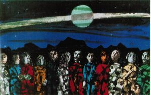 Neue Lichteffekte erreichte der Künstler bei diesem transluzenten Bild aus verschmolzenem Polystyrol. (Bildquelle: BASF-Kunststoff-Fibel, 1. Auflage 1970)
