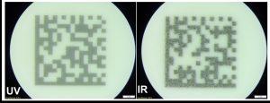 Data-Matrix-Code auf ABS unter dem Mikroskop. Links: Sauberes Beschriftungsbild durch UV Laser. Rechts: Aufgeschmolzene Strukturen durch IR Laser. (Bildquelle: Trumpf)