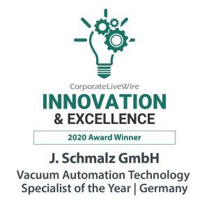Das Businessportal Corporate LiveWire zeichnete Schmalz mit dem Innovation & Excellence Award 2020 aus. (Bildquelle: J. Schmalz)