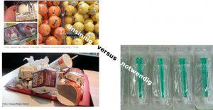 Unsinnige im Vergleich zu notwendigen Verpackungen. (Bildquelle: Kunststoff-Institut)