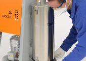 Schnell und einfach gereinigt: der moderne Zyklonfilter mit transparentem Staubsammelbehälter (Bildquelle: Motan)