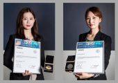 JungEun Lee (l.) und SeungA Lee von Wacker Chemicals Korea erhielten den Alexander-Wacker-Innovationspreis für die Entwicklung neuartiger Siliconharze für Optical-Bonding-Anwendungen. (Bildquelle: Wacker)