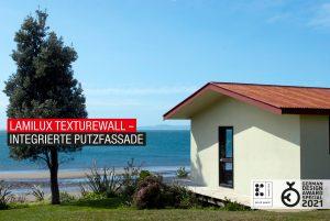 Der faserverstärkte Kunststoff Texture Wall mit Putzoptik holt den German Design Award. (Bildquelle: Lamilux)