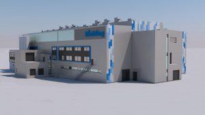 3-D-Ansicht des neuen Produktionsgebäudes von Röchling Medical in Neuhaus am Rennweg. (Bildquelle: alle Röchling)