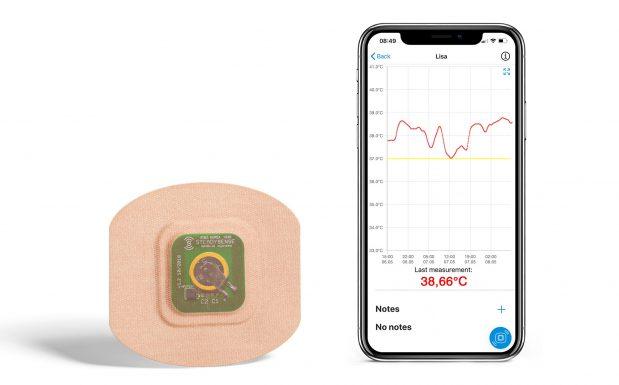 Das Startup Steady Sense aus Österreich entwickelt Hautpflaster mit integrierten Temperatursensoren. Patienten können die Temperaturmesssysteme seitlich der Brust unter dem Arm anbringen – dort misst das Hightech-Pflaster kontinuierlich Körpertemperaturwerte in festgelegten Zeitintervallen. Die Daten können anschließend auf das Smartphone des Patienten übermittelt werden. Ein erstes Produkt des Unternehmens ist Fem Sense: ein Hautpflaster mit Temperatursensor plus eigens entwickelte Smartphone-App für Frauen mit Kinderwunsch. (Bildquelle: Steady Sense)