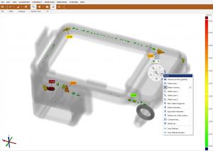 Screenshot Lunker: Das Falschfarbenbild gibt einen Überblick über die Ergebnisse und das Bauteil.  (Bildquelle: GOM)