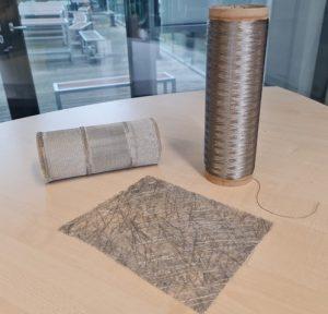Alucoat – Aluminiumbeschichtete Basaltfasern als Multifilamentgarn, Gewebe und Vlies. Bild: Amac)