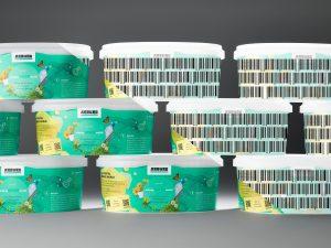 Digitale Wasserzeichen: Für den Endverbraucher unsichtbar (links) sind Informationen als digitaler Pass direkt auf dem Kunststoff oder zugehörigem Label hinterlegt (rechts visualisiert). (Bildquelle: Arburg)