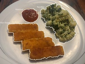 Die Software kann einzelne Speisenregionen auf dem Teller lokalisieren und die Speisen klassifizieren, die sich in den Regionen befinden. (Bild: Fraunhofer IPA)