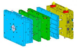 Ein Variomold-Werkzeug setzt sich wie folgt zusammen: 2 Basisplatten (blau), 1 Kaltkanal (gelb) und 2 Konturplatten (grün), die bauteilspezifisch auf der Maschine gewechselt werden. (Bild: Edegs Formenbau)