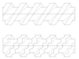 Anders als bei herkömmlichen Doppelschnecken-Extrudern sind die Schneckengänge bei der Wellenschnecke (unten) in Umfangrichtung wellenförmig ausgerichtet. (Bild: Hans Weber Maschinenfabrik)