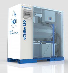 Die neue Maschine verwendet Wasser als Kältemittel und erreicht eine Kälteleistung von 120 kW. (Bild: Efficient Energy)