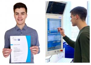 Ausgezeichnet: Thomas Bayer von Gerresheimer schließt seine Prüfung zum Verfahrensmechaniker Kunststoff- und Kautschuktechnik als bester Azubi Deutschlands ab. (Bild: Gerresheimer)