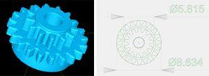 Bild 3: li.: Punktewolke (STL-Datei); re.: Genaue Bemaßung (Abweichung circa 3 µm) (Bild: KUZ)