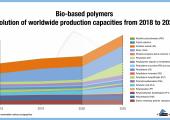 Die Grafik zeigt die Entwicklung der Produktionskapazität biobasierter Kunststoffe von 2018 bis 2025. (Bild: Nova-Institut)