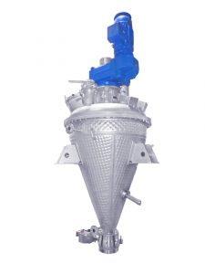 Durch eine intelligente Konstruktion im Deckel des Trockners wird dem Polycarbonat-Zwischenprodukt ein Coatingzusatz zugeführt und durch das spezielle Wendelprinzip gleichmäßig und verlässlich im Behälter verteilt. (Bild: BHS-Sonthofen)