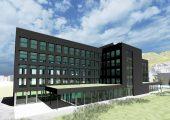 Das für die erste Bauetappe geplante Vertriebsgebäude bietet Platz für 250 MitarbeiterInnen. (Bild: Meusburger)