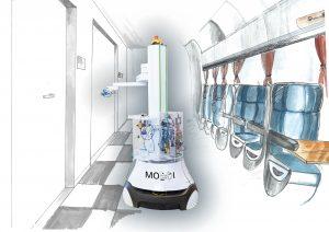 Im Projekt MobDi werden Desinfektionsroboter sowohl für den Einsatz in Gebäuden (links) als auch in Verkehrsmitteln (rechts) entwickelt. (Bild: Fraunhofer IPA/Foto: Rainer Bez und Fraunhofer IMW/Grafik: Stefanie Irrler)