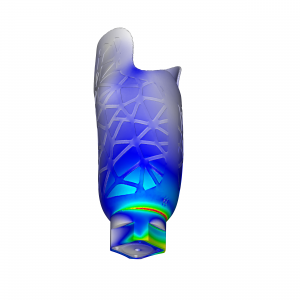 Finite-Elemente-Modell mit Darstellung der Spannungen eines Prothesenschafts zur Aufnahme des Stumpfs. (Bild: Merkle & Partner)
