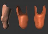 Arbeitsschritte 3D: Scannen, Zweckformhülle, Modell für 3D-Druck. (Bild: Merkle & Partner)