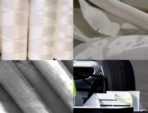 Auf Reimotec-Anlagen gefertigte Innegra-S-Fasern trugen zum Erfolg von Brawn GP bei: Einzelfasern unter dem Mikroskop (unten links),  Filamentspule (oben links)und Gewebe (oben rechts).