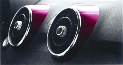 Die galvanisierten Kunststoffringe werden im Interieur des neuen Audi A1 an den  runden Lüftungsgittern eingesetzt.