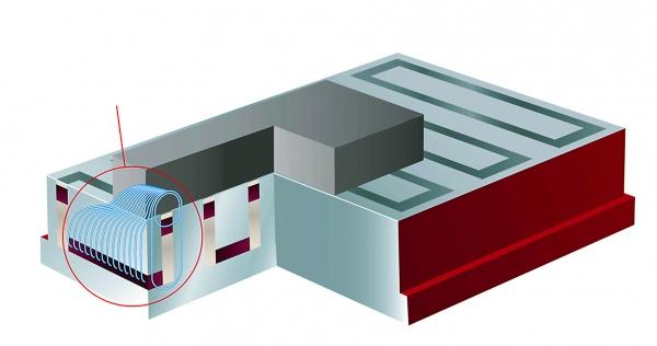 Die Funktion des Langpol-Systems: Die Platte ist der Südpol und die quaderförmigen Magneteinsätze sind die Nordpole. Im Vergleich dazu wirkt beim Quadratpolsystem die Magnetkraft nur dann, wenn beide Polsegmente vollständig von der Aufspannplatte bedeckt  (Bildquelle: EAS Europe)