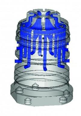 3D-Ansicht der im Werkzeugkern verlaufenden konturnahen Kühlkanäle. (Bildquelle: LBC)