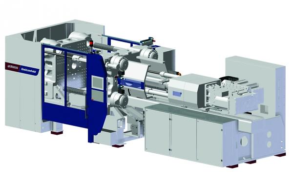 Die vorgestellte Spritzgieß-Maschine ist mit der  modernen servohydraulischen 2-Platten-Schließeinheit ausgestattet, die mit einem vollelektrischen Hochleistungs-Spritzaggregat kombiniert wird. (Bildquelle: Wittmann)