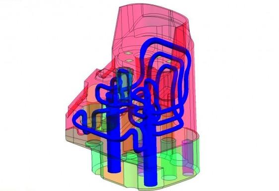 Hohe Kühlleistung auf engem Raum:  Parallelkühlung mit generativ gefertigten Einsätzen (Bildquelle: Hofmann Innovation Group)