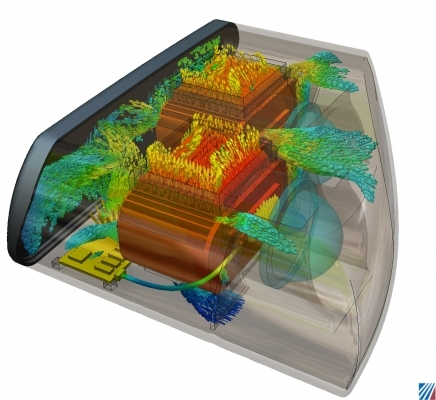 Simulation von Wärmeentwicklung und Luftströmung in einer LED-Automobilleuchte. Bild: Autodesk