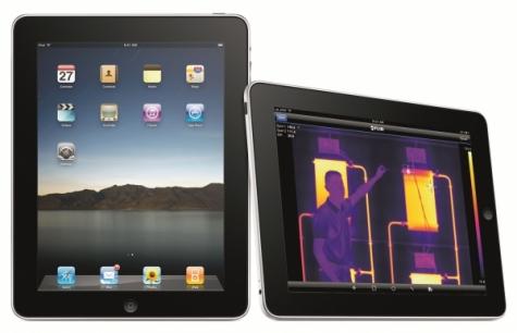 Über ihr internes W-Lan lassen sich Wärmebildkameras mit dem iPad, iPod Touch oder iPhone vernetzen. Bild: Flir