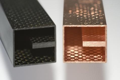 Eine dünne Kupferschicht verleiht CFK elektrische Leitfähigkeit. Bild: Fraunhofer-Institut für Schicht- und Oberflächentechnik IST