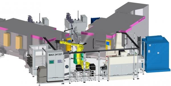 Der Roboter in der neuen Fertigungsinsel MAX 241321 von Martinmechanic bedient sieben Stationen gleichzeitig.  (Bildquelle: Martinmechanik)