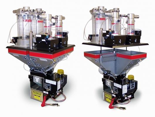 Pneumatisch angetriebener Trichterdeckel patentiert, Bild: Maguire (Bildquelle: Maguire)
