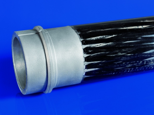 Rohrstoß als Hybridverbindung zwischen einem Aluminium-Druckgussbauteil und CFK mithilfe von Titandrahtschlaufen als Übergangsstruktur. (Bildquelle: Fraunhofer IFAM )