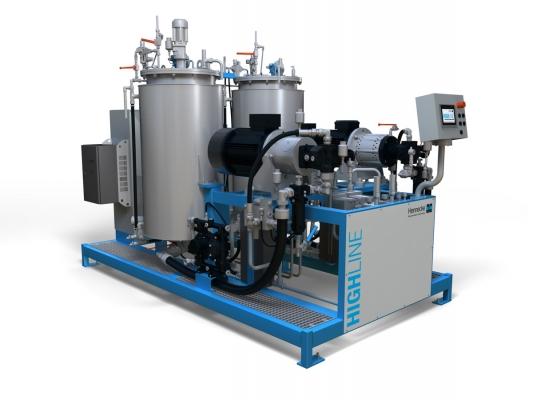 Die neue kosten- und energieeffiziente Dosiermaschine für die zweikomponentige Hochdruckverarbeitung von Polyurethan. (Bildquelle: Hennecke)