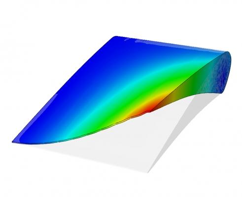 """Umweltfreundlicher Fliegen mit verformbaren Flugzeugflügeln ist das Ziel des EU-Projekts Saristu. Simulation des """"Flexmoduls"""" für Morphing im Wingtip-Bereich. (Bildquelle: Fraunhofer Ifam)"""