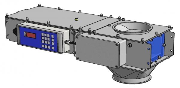 Technische Zeichnung des verbesserten gravimetrischen Dosiersystems (Bildquelle: Friedrich Electronic)