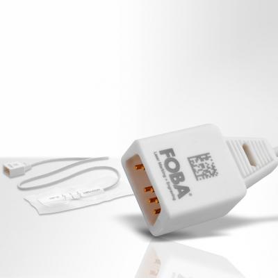 Kunststoffstecker mit lasermarkiertem 2D-Code. (Bildquelle: Alltec / Foba)